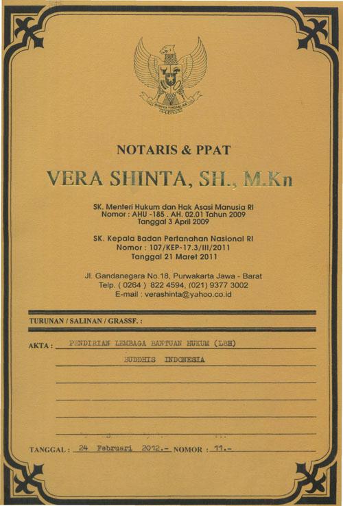 Akta Pendirian Lembaga Bantuan Hukum Buddhis Indonesia No